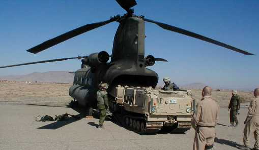 BV-206 type vehicle flown by U.S. Army CH-47D <i>Chinook</i> helicopers into Afghanistan combat