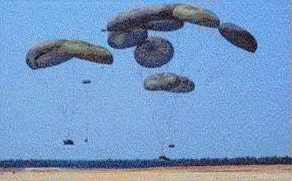 Multiple G-11 parachutes can deliver amored vehicles and supplies up to 30 tons.  Thus, it may be possible to airdrop the M2 <i>Bradley IFV