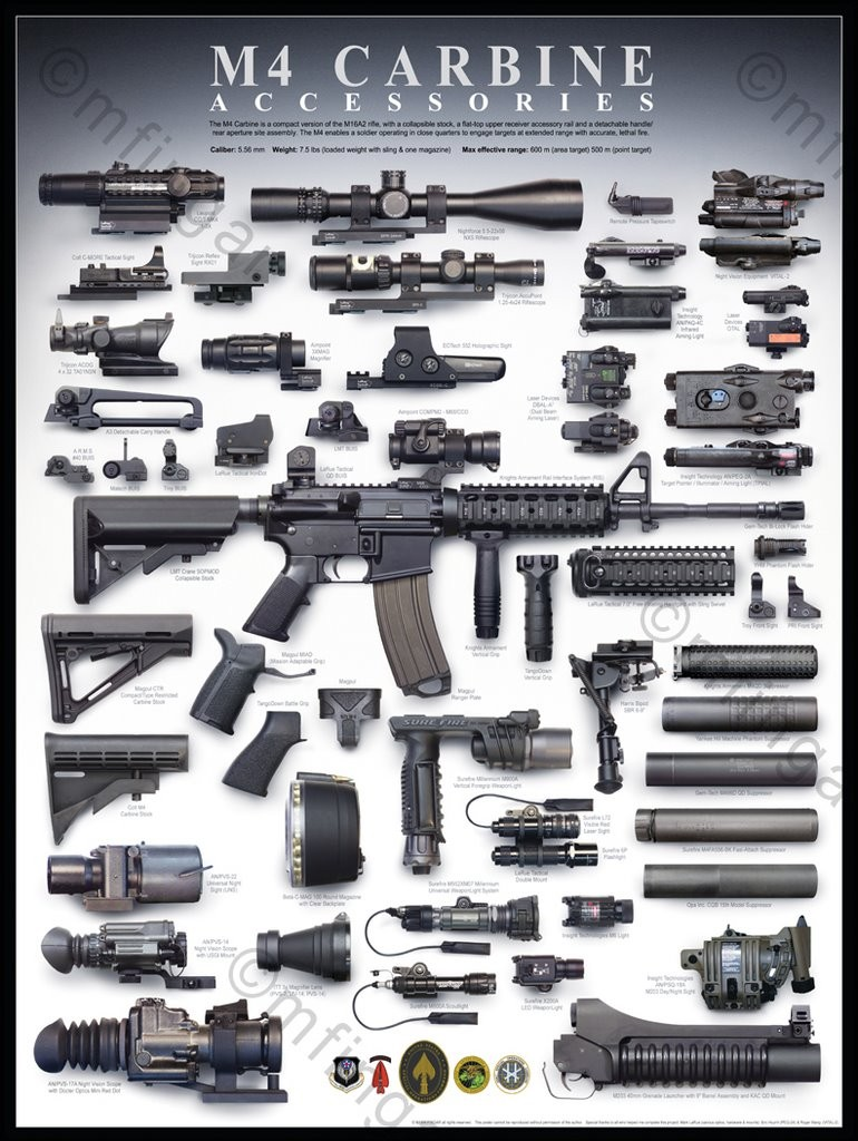 Myriad, bewildering array of accessories for the M16/M4 family