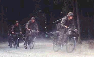 Swiss Bicycle troops sprinting at 30 mph to seize a mobility corridor