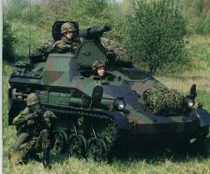 German Airborne Wiesel tracked AFV: armored firepower rolling out the rear ramp of airlanded aircraft and airdropped by cargo parachutes to dominate the fire-swept battlefield